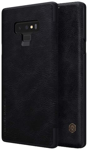RAKULO Leather Flip Cover For Samsung Galaxy Note 9 ( Black )