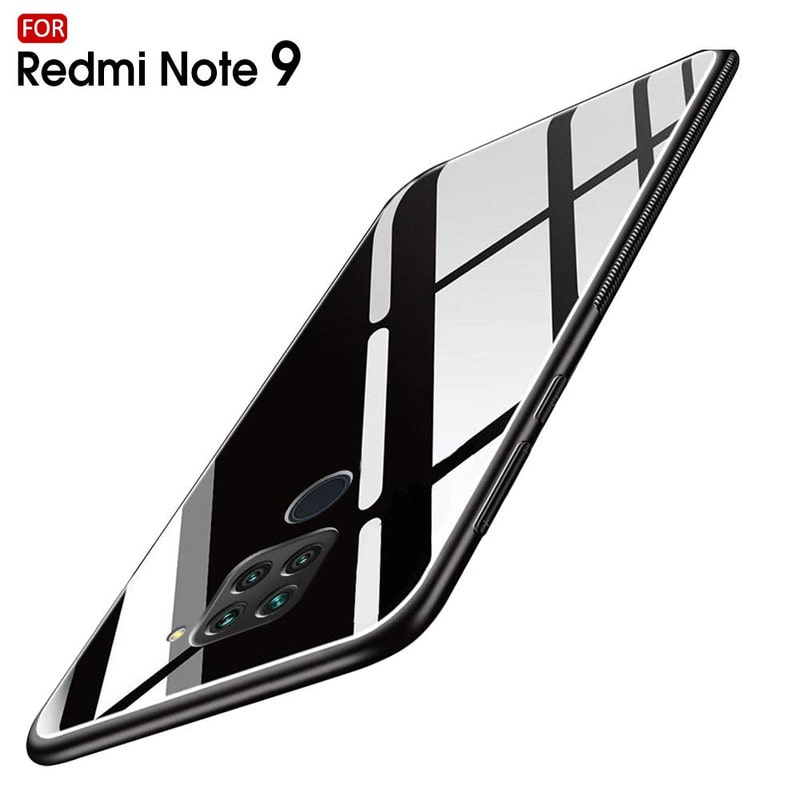 Rakulo Luxurious Glass Back Case Cover for Redmi Note 9 | Soft...