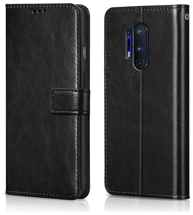 Rakulo OnePlus 8 Pro Case Leather Finish | Inside TPU with Card Pockets   Stand | Magnetic Closure | Shock Proof Wallet Flip Cover for 1+8 Pro One Plu