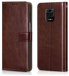 Rakulo Premium Flip Cover Case Vintage Executive Business for Xiaomi Mi Redmi Note 9 Pro/Redmi Note 9 Pro Max/Poco M2 PRO - Brown