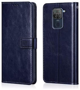 Rakulo Redmi Note 9 Flip Case Leather Finish Inside TPU with Card Pockets Wallet Stand Shock Proof Magnetic Closure 360 Degree Complete Protection Flip Cover for XIAOMI MI REDMI Note 9 - Blue