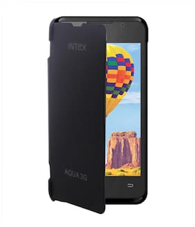 RDcase Flip Cover For Intex Aqua 3G (Black)