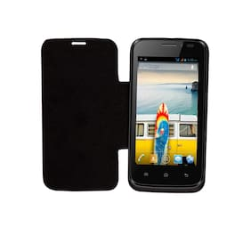 RDcase Flip Cover For Micromax Canvas A66 (Black)