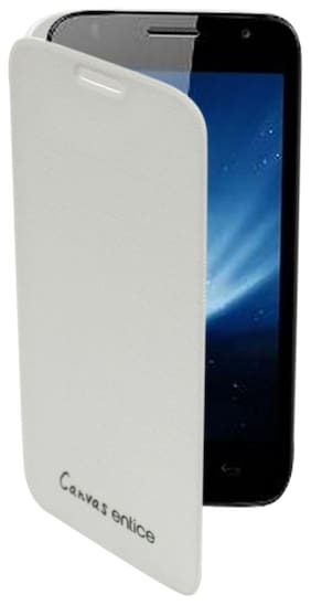 RDcase Flip Cover For Micromax Canvas Entice A105 (White)