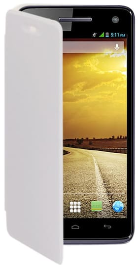 RDcase Flip Cover For Micromax Canvas A120 (White)