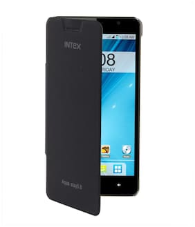 RDcase Flip Cover For Intex Aqua Star 5.0 (Black)