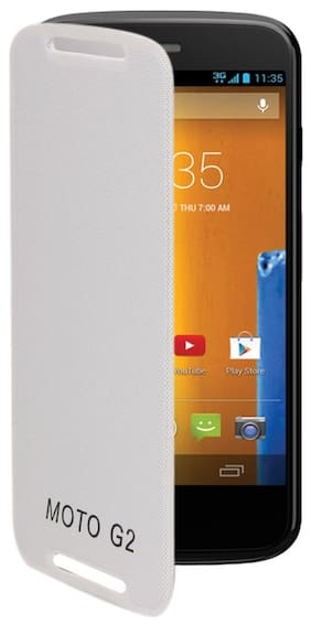 RDcase Flip Cover For Moto G (2nd Gen) (White)