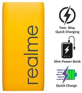 RealMe 10000 mAh Portable Fast Charging Power Bank - Yellow