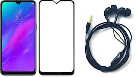 Britney World  2 in 1 COMBO  -  5D Edge to Edge Tempered Glass / Earphone with Mic For Realme 3