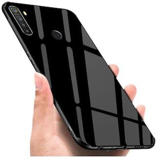 shopyholik Glass Back Cover For Realme 5 ( Black )