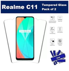 Realme C11 Full Coverage Tempered Glass (Pack of 2)