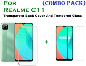 Realme C11 Tempered Glass And Transparent Back Cover (COMBO PACK)