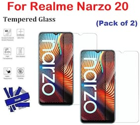 Realme Narzo 20 Full Coverage Tempered Glass (Pack of 2)