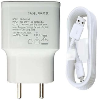 Rebhim Samsung 2Amp Mobile Wall Charger For Samsung Galaxy J5/ J2/ J7/On5 Pro /J3 Pro /J2 Pro /J1/ J6//On5 /On6/ On7/ J7 /On7 Pro /S7 Edge With Micro USB Data Cable Mobile Charger (White)
