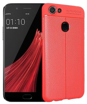 Leather Texture Soft Premium Rubber Back Cover For OPPO F5 (Red)
