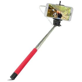 Red Selfie Stick Monopod With Aux Wired