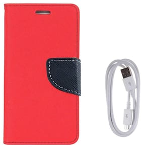 Redmi 4 Luxury Magnetic Lock Diary Wallet Style Flip Cover Case For   + Data Transfer & Charging Cable