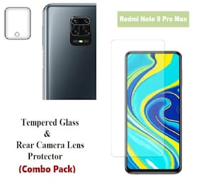 Redmi Note 9 Pro Max Tempered Glass & Rear Camera Lens Protector (Combo Pack)