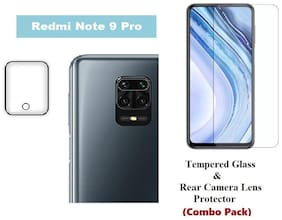 Redmi Note 9 Pro Tempered Glass & Rear Camera Lens Protector (Combo Pack)