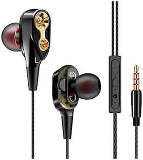 Rednix 4D DUAL DOUBLE EARPHONE In-ear Wired Headphone ( Black )
