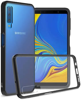 Royal Son Magnetic Metal Frame/case Tempered Glass Hard Back Cover with Built-in Magnets Bumper Compatible for Samsung A7 2018