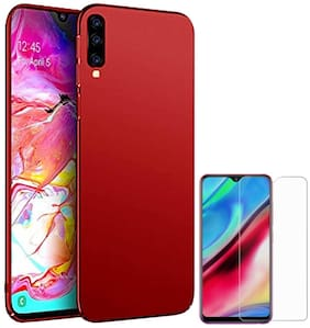 RRTBZ 4 Cut All Sides Protection Hard Back Case Cover for Samsung Galaxy A70 with Tempered Screen Guard -Red