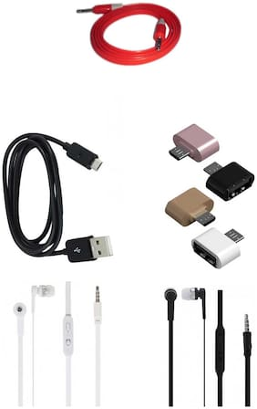 RRTBZ Combo of Headphone and Data Cable and OTG Adapter and AUX Cable (Assorted) -Set of 4 Pcs