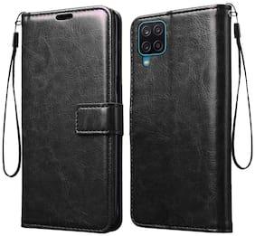 Samsung Galaxy M12 Leather Flip Cover By RRTBZ ( Black )