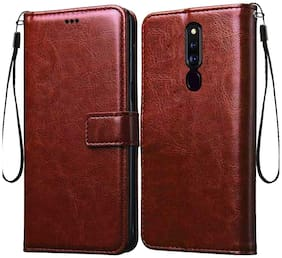 RRTBZ Foldable Stand Wallet Flip Cover Case for Oppo F11 Pro -Brown