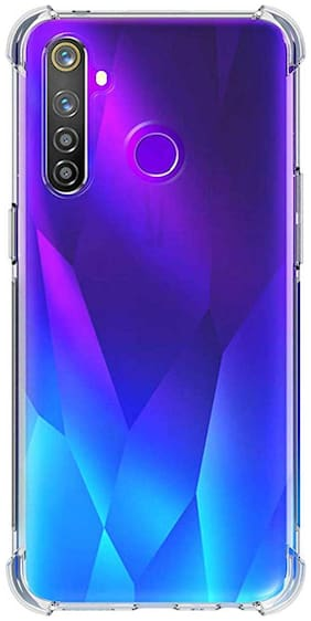 RRTBZ Realme 5 Case Back Cover Full Body Protective Soft Phone Mobile Cover with Screen Camera Protection Bumper Corner for Realme 5 (Transparent)