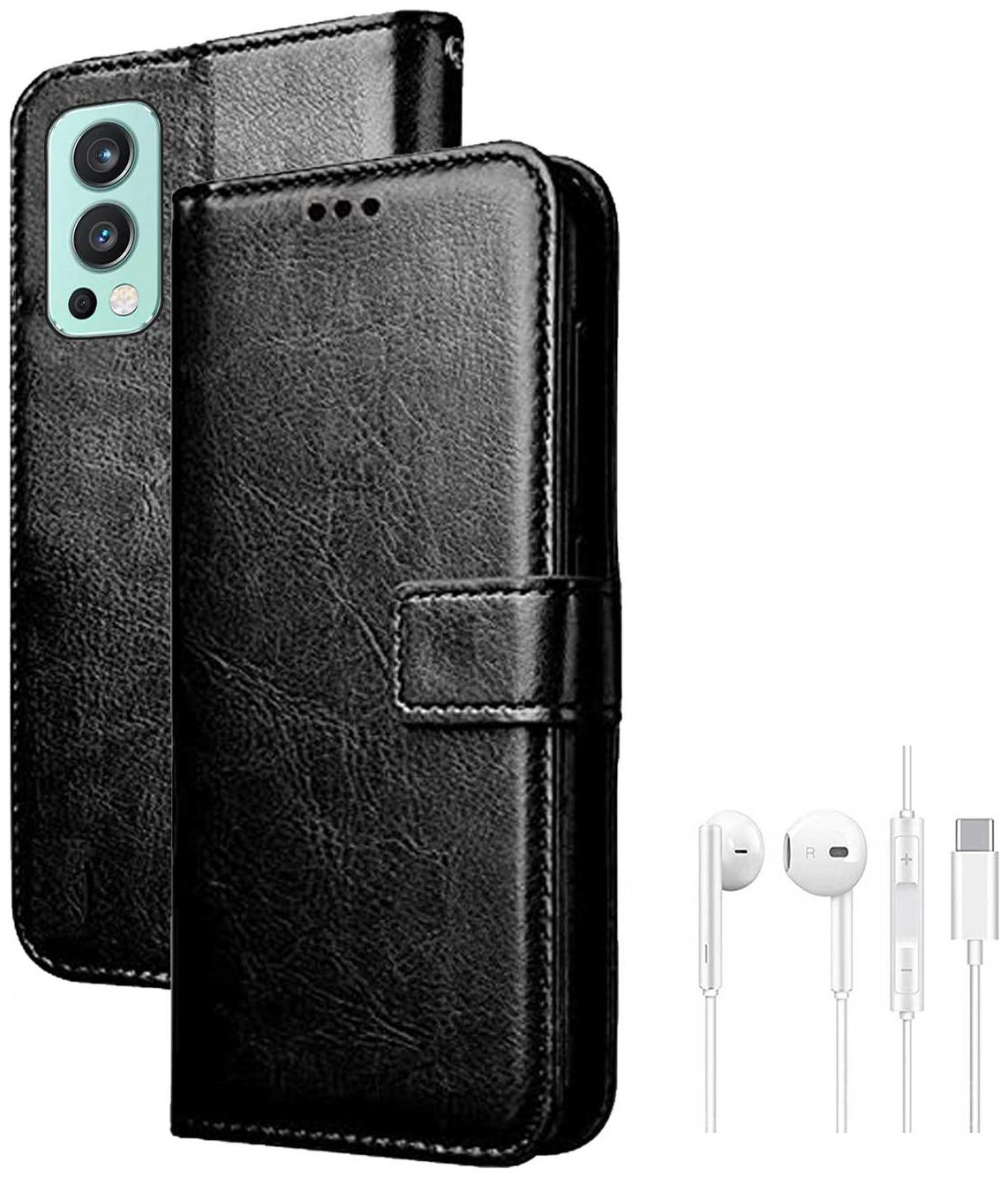 RRTBZ Wallet Flip Cover Case for OnePlus Nord 2 5G with Earphone by T B Z