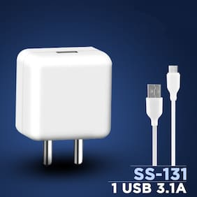 S4 5V/3.1A Flash Power Adapter Wall Charger with SuperFast Data Sync Charging Cable for Oppo Reno/Oppo F11 Pro & All Oppo Smartphone (Charger Set)