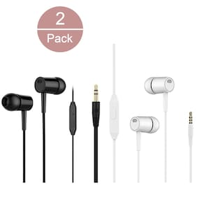 S4 Pack 0f 2 Universal In-Ear Wired Headphone ( Black & White )
