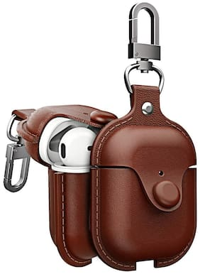S4 PU Leather Case for AirPods 1/2 True Wireless Bluetooth Earphone Charging Protective Case Cover Bag Pouch for AirPods - Brown