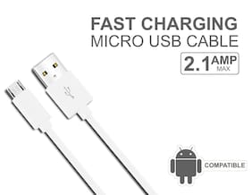 All Smart Phones Compatible USB Data Cable and High Speed Data Transfer (1 Meter, White)