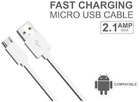 Android Micro USB Cable with   Charging Speed for Xiaomi,Samsung, Oppo, Vivo, Smartphones and Tablets (White)