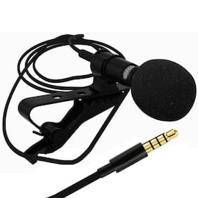 Sami 3.5mm clip-on lapel microphone hands free wired condenser mini lavalie - Black