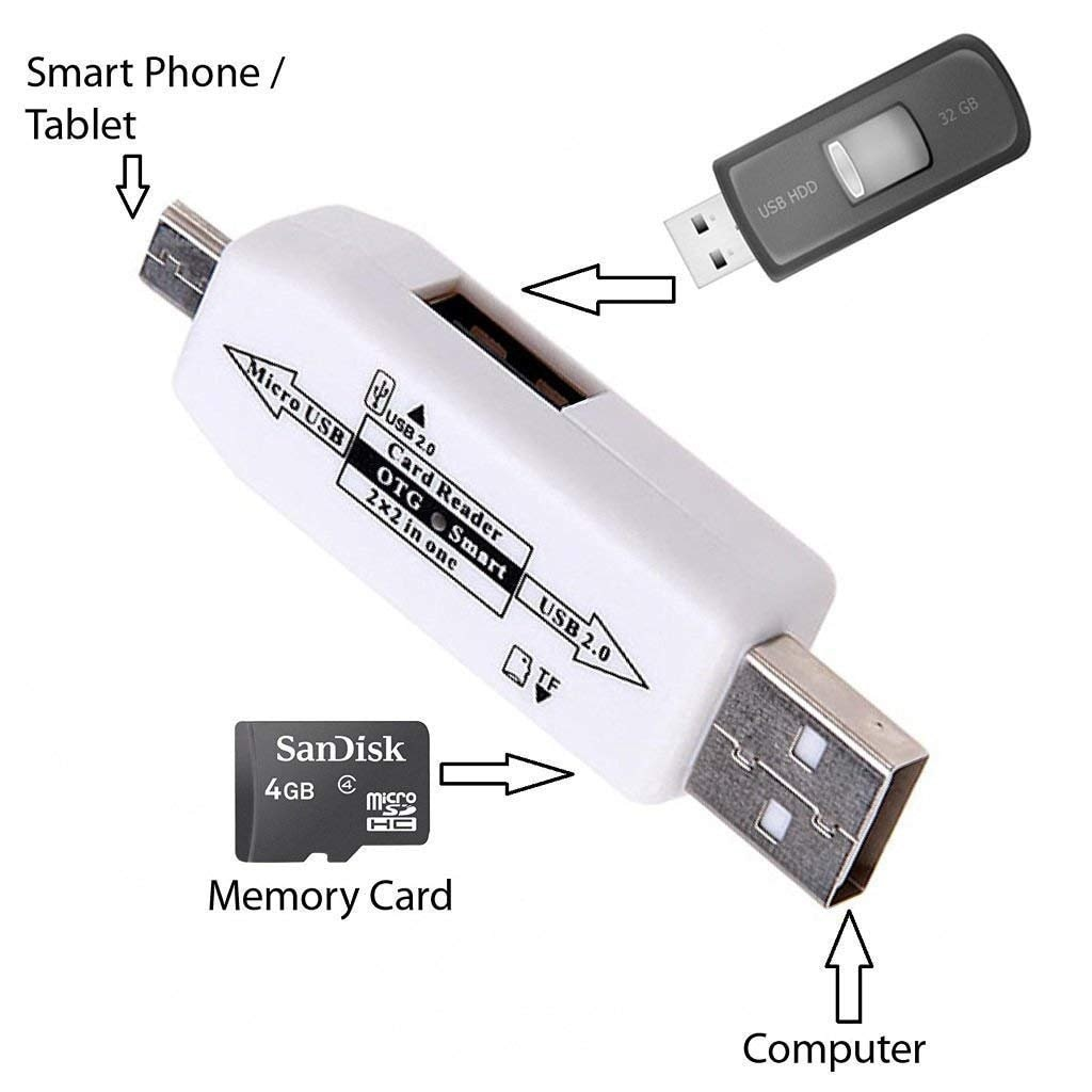 Sami All in one Micro USB OTG Smart Card Reader Adapter with 2.0 USB HUB