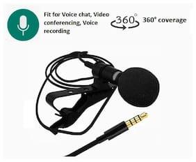 Sami Caller Audio Microphone 3.5mm Jack Plug Mic Stereo Mini Lapel Collar MIC Wired External Clip Micro - Black