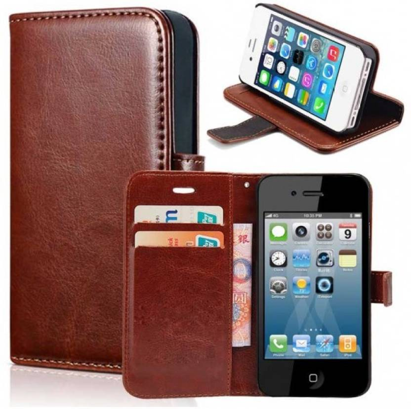 CREATIVO Faux Leather Flip Cover For Samsung Galaxy J2 2018 ( Brown...