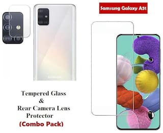 Samsung Galaxy A51 Tempered Glass & Rear Camera Lens Protector (Combo Pack)