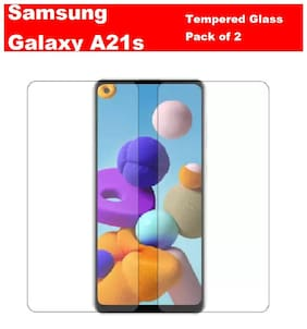 Samsung Galaxy A21s  Full Coverage with Full Glue Tempered Glass (Pack of 2)