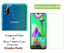 Samsung Galaxy M21 Tempered Glass & Rear Camera Lens Protector (Combo Pack)