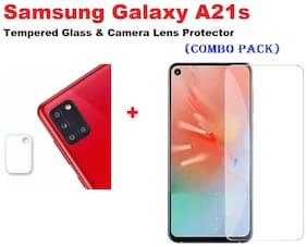 """Samsung Galaxy A21s """"Full Coverage Tempered Glass & Mobile Rear Camera Lens Protector (COMBO PACK) """""""