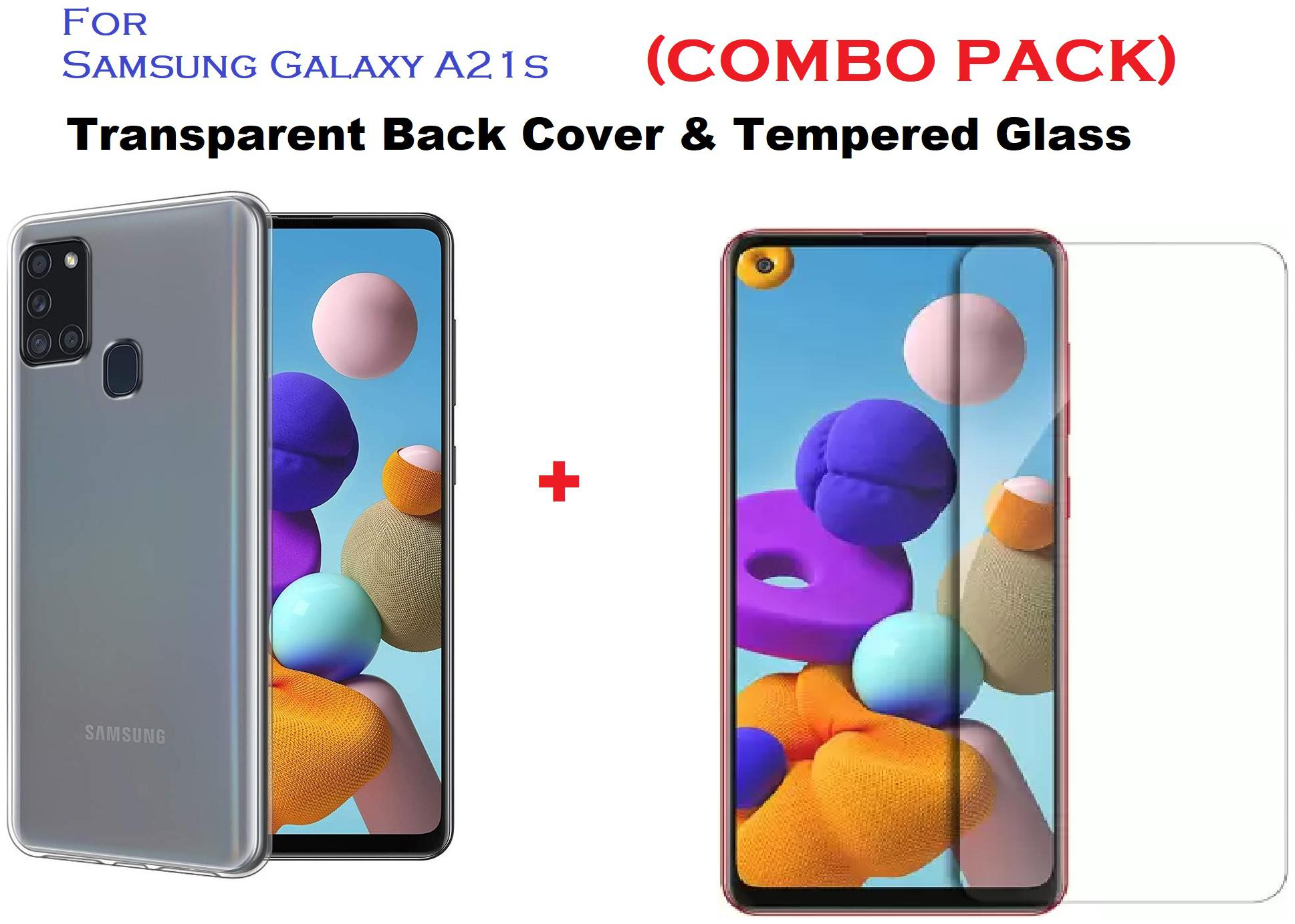 Samsung Galaxy A21s Tempered Glass And Transparent Back Cover (Combo Pack)