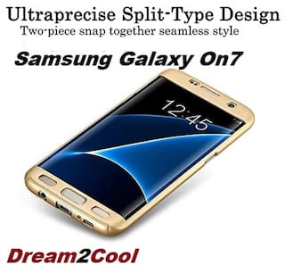 huge discount ed1a5 d770f Samsung Galaxy On 7/On 7 pro -360 Degree Ipaky-Full Body Protection (Front  Back Temper Glass) Case Cover ,Gold