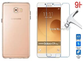 Samsung Galaxy C9pro Transparent back cover  with tempered glass