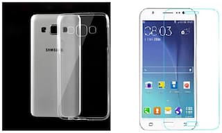 Samsung  Galaxy J7 transparent back cover with  tempered glass (crystal clear soft case)