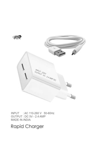 Samsung Supported Wall Charger, Travel Charger, Mobile Charger, Dual Port USB Adapter With Micro USB Cable By TBZ Smart And Fast Charging, 2.4 AMP