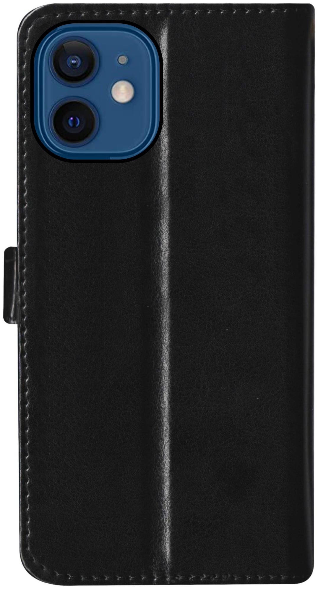 Apple iPhone 12 Mini Leather Flip Cover By SBMS   Black   by SBMS Mobile Covers